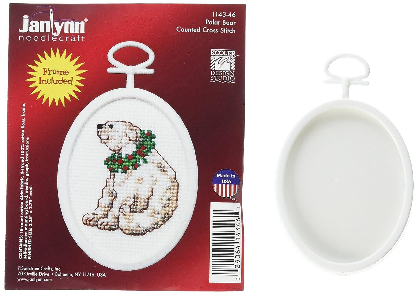 Janlynn 1143-46 18 Count Mini Counted Cross Stitch Kit, 2.75-Inch, Oval, Polar Bear