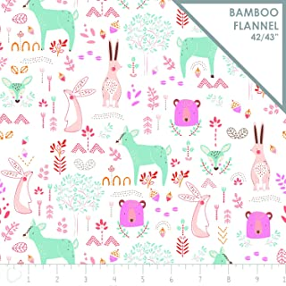Animal Fabric Forest Friends in Peony Pink Bamboo Flannel from Camelot Fabric by The Yard