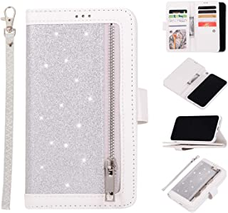 Shinyzone Wallet Case for iPhone 11 Pro 5.8 inch with 9 Card Slots,Glitter Leather Case with Zipper Pocket,Multifunction with Hand Strap Magnetic Stand Flip Cover,Silver