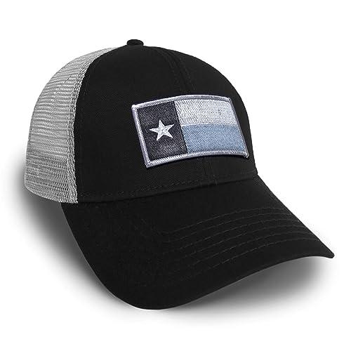 cfc5a9c3 Strange Cargo Tees Texas Flag Cap Black and Grey Baseball Snap Back Hat
