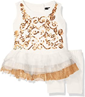 kensie Baby Girls' Sparkle Swirl Ruffle Top and Legging Set