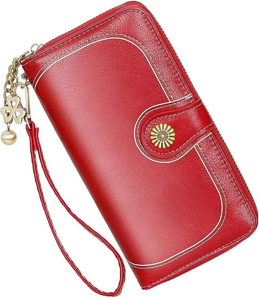 Y yongyuan portafoglio porta carte di credito per donna in ecopelle rossa