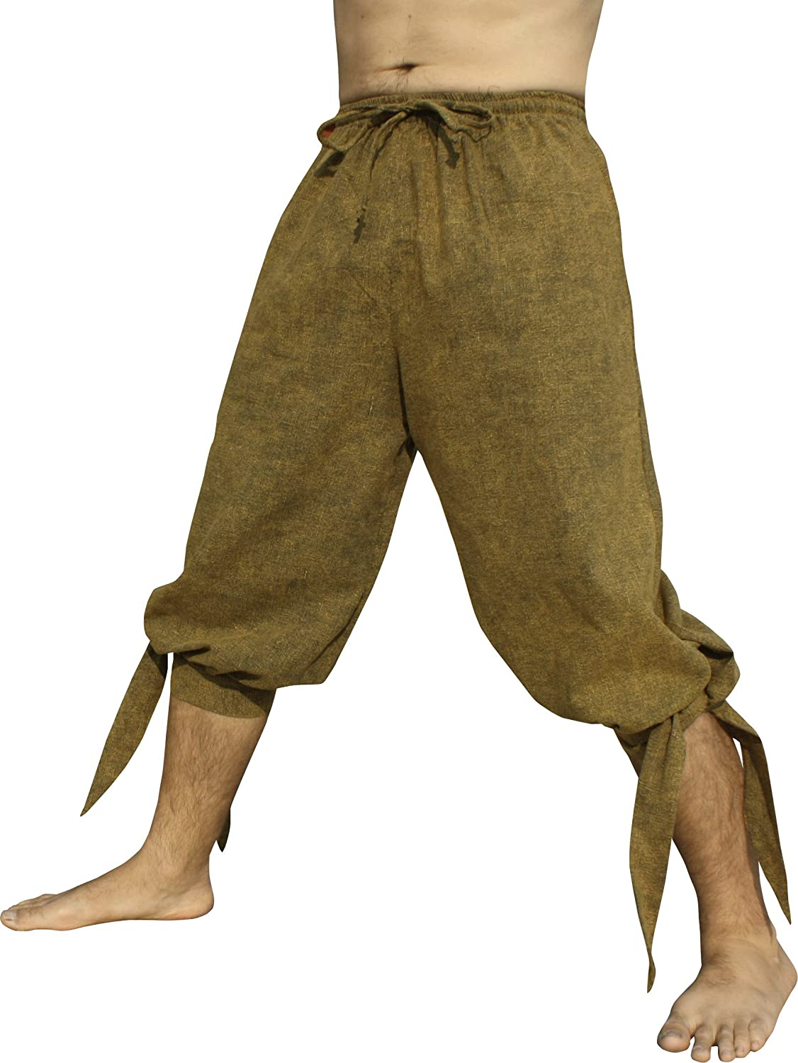 Raan Pah Muang Side Tied Leg Raw Stonewashed Cotton Buccaneer Pirate Pants