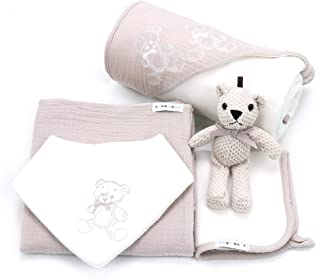 Newborn Baby Gift Basket Set - Shower Gift Unisex for Boys and Girls. 5 Piece Set. Large Hooded Baby Towel, Washcloth, Cotton Swaddle and Teddy Bear. (Beige)