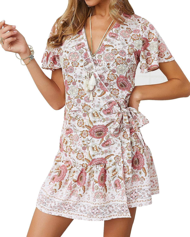 Rozegaga Womens Summer Bohemian Floral Print Wrap V Neck Ruffle Swing A Line Beach Mini Dress