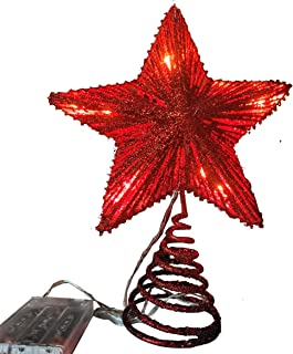 Light Up Christmas Tree Topper,Red Color,8 x 10 Inch,Warm LED Lights and Timer for Christmas Tree Decoration and Holiday S...