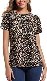 S.ROMZA Women's Leopard Pullover Knits Tees Crew Neck Tops Blouses