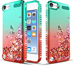 TGOOD iPod Touch 7 Case,iPod Touch Case 6th Generation/iPod Touch 5 Case Case with Tempered Glass Screen Protector,Liquid Quicksand Floating Bling Bling Diamond Phone Case for Girls Women (Mint/Red)