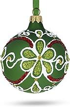 BestPysanky Flowers on Green Glass Ball Christmas Ornament