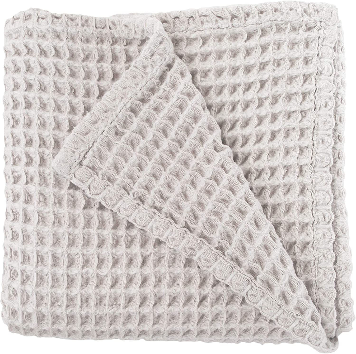 Cloud Blanket in Light Grey - Made from Soft and Lofty Waffle Gauze - 100% Cotton - 36  x 40  - Baby Girl Gift