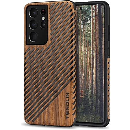 TENDLIN Compatible with Samsung Galaxy S21 Ultra Case Wood Grain and Leather Outside Design TPU Hybrid Case (Black)