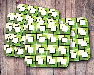 Posavasos en tonos verdes con diseño cuadrado geométrico blanco, posavasos individuales o juego de 4