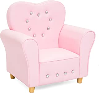 Best Choice Products Kids Heart-Shape Accent Chair Seat w/Armrest and Rhinestones, Pink