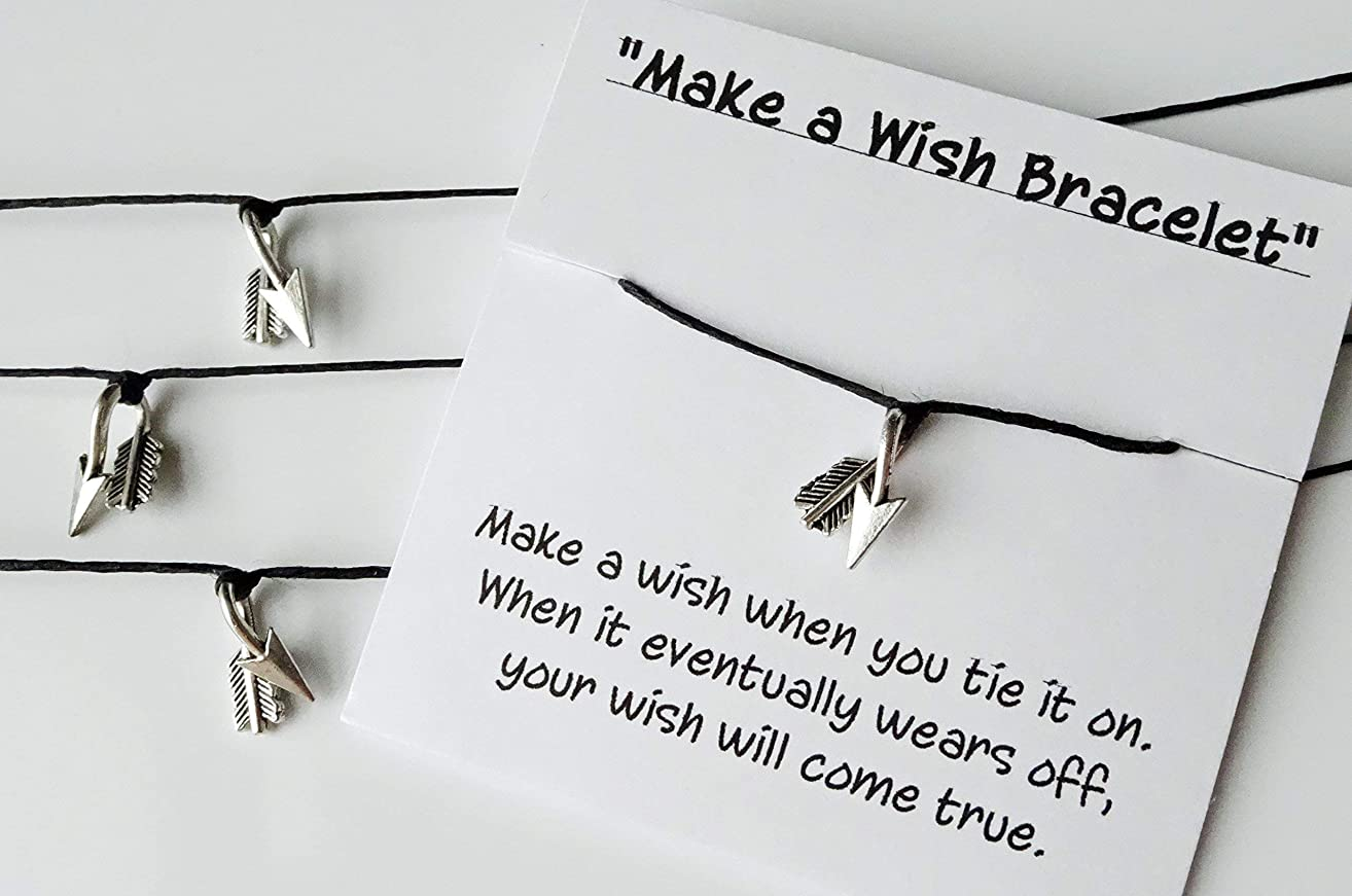 Set of 10 - Make a Wish Bracelets - Arrow Bracelets - Weddings - Party Favors - Everyday Gifts - Card is Cusomizable - Ships Priority