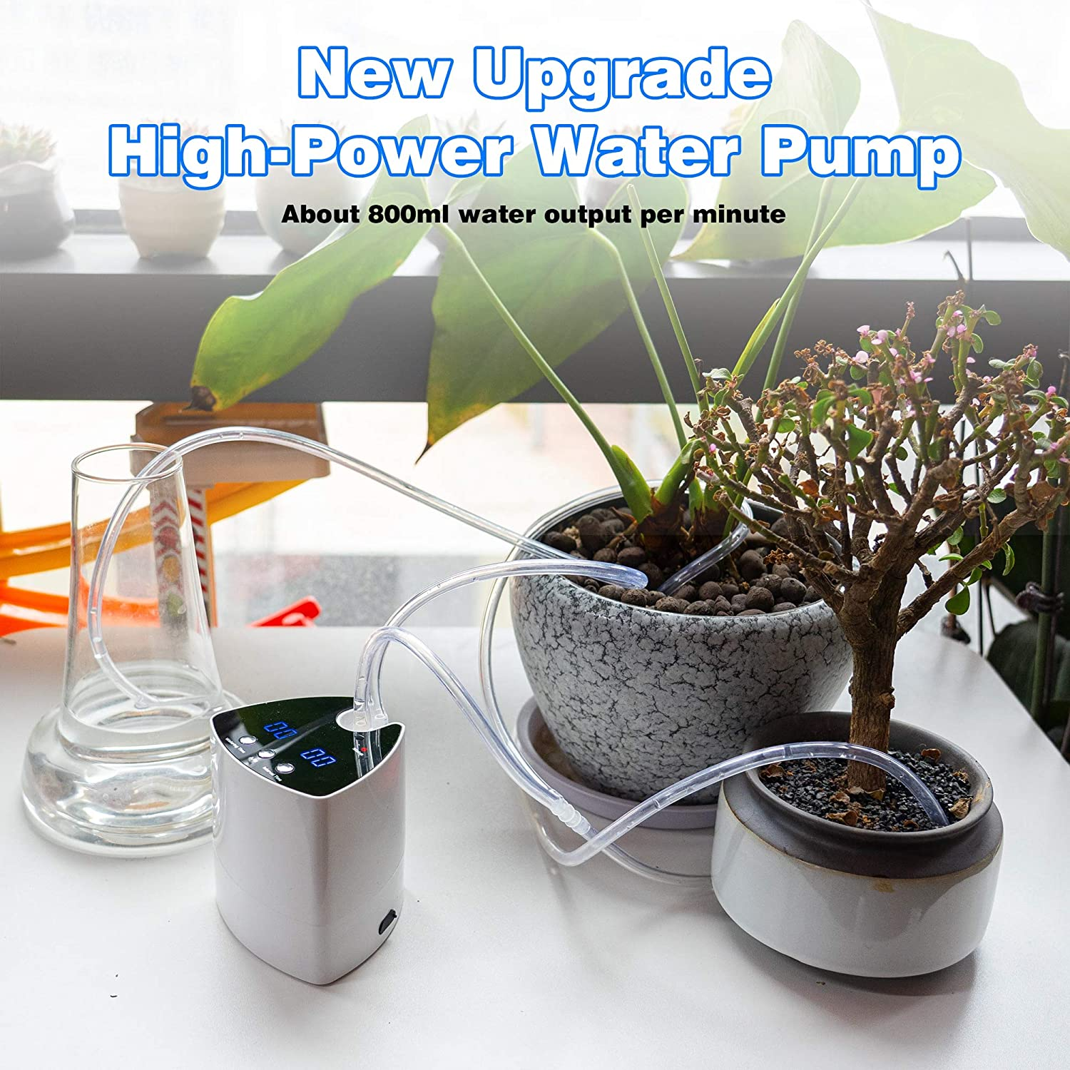 Hourleey Automatic Watering System Drip Irrigation Kit, Self Watering  System with 20 Day Adjustalbe Programmable Water Timer USB Power Supply,  Micro ...