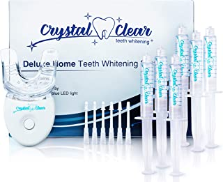 Teeth Whitening Kit, Crystal Clear Teeth Whitening Gel (6 Pack) MADE IN USA! Dentists & FDA APPROVED.Money Back Guaranteed.Safe 35% Carbamide Peroxide+LED light.30+uses,non sensitive,fast,hismile,snow