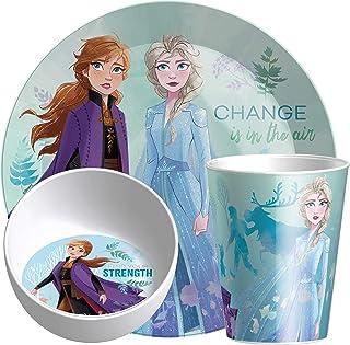 Zak Designs Disney Frozen 2 Anna & Elsa Kids Dinnerware Set Includes Plate, Bowl, and Tumbler, Made of Durable Melamine Ma...