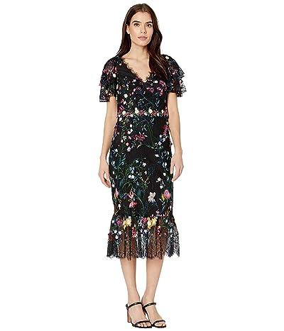 Marchesa Notte Flutter Sleeve V-Neck Embroidered Lace Dress w/ 3D Flowers (Black) Women