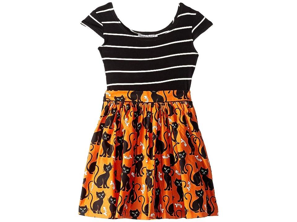 fiveloaves twofish Kitties Maddy Dress (Toddler/Little Kids) (Orange) Girl