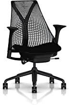 Herman Miller Sayl Ergonomic Office Chair with Tilt Limiter and Carpet Casters | Stationary Seat Depth and Arms | Black Frame with Black Rhythm Seat
