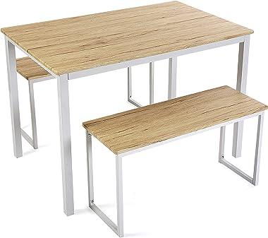 Versa Taline Set de Table à Manger avec Deux bancs, Dimensions (H x l x L) 76 x 70 x 110 cm, Bois et métal, Couleur Blanc