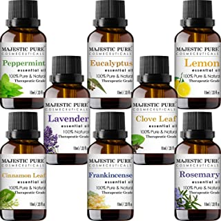 MAJESTIC PURE Essential Oils Set for Aromatherapy and Diffuser -Natural Therapeutic Grade Lavender, Eucalyptus, Peppermint...