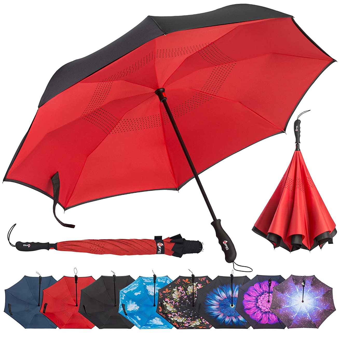 Repel Reverse Folding Inverted Umbrella with 2 Layered Teflon Canopy and Reinforced Fiberglass Ribs (Red)