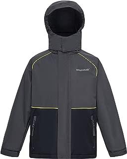 Boys Girls Fleece Lined Waterproof Windbreaker Jacket Outdoor Hooded Midweight Rain Coat