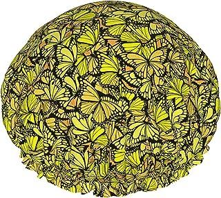 Żółte motyle wodoodporna czapka prysznicowa z elastycznym obszyciem dwustronna konstrukcja do prysznica czapka do spania n...