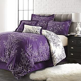 Spirit Linen Warm and Cozy Comforter Set Platinum Bedding Collection Baby Soft Texture Plush Bed Blanket (Purple, Queen)