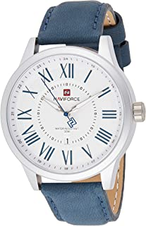 Naviforce Men's White Dial Genuine Leather Analogue Classic Watch - NF9126-SWBE