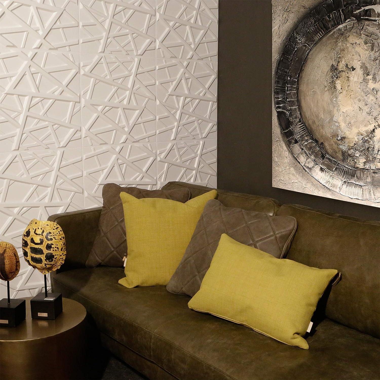 Panel de pared 3D para decoraci/ón de pared 02 - Panel de pared 3D Waves Pegamento Paneles 3D I 12 Paneles Decorativos 3m2 WallArt I Papel Pintado 3D Pared 3D