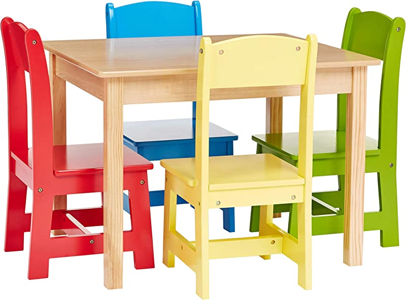 Phoenix Home Fermo Kid S Natural Wood Table And Primary Color Chair Set Red Yellow Green Blue Renewed