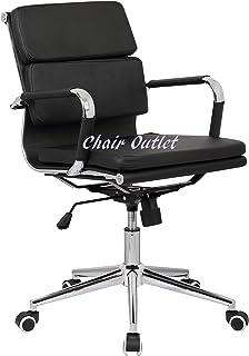 Silla de oficina de escritorio de escritorio de color negro con almohadilla suave para conferencias, sala de reuniones, recepción, reunión