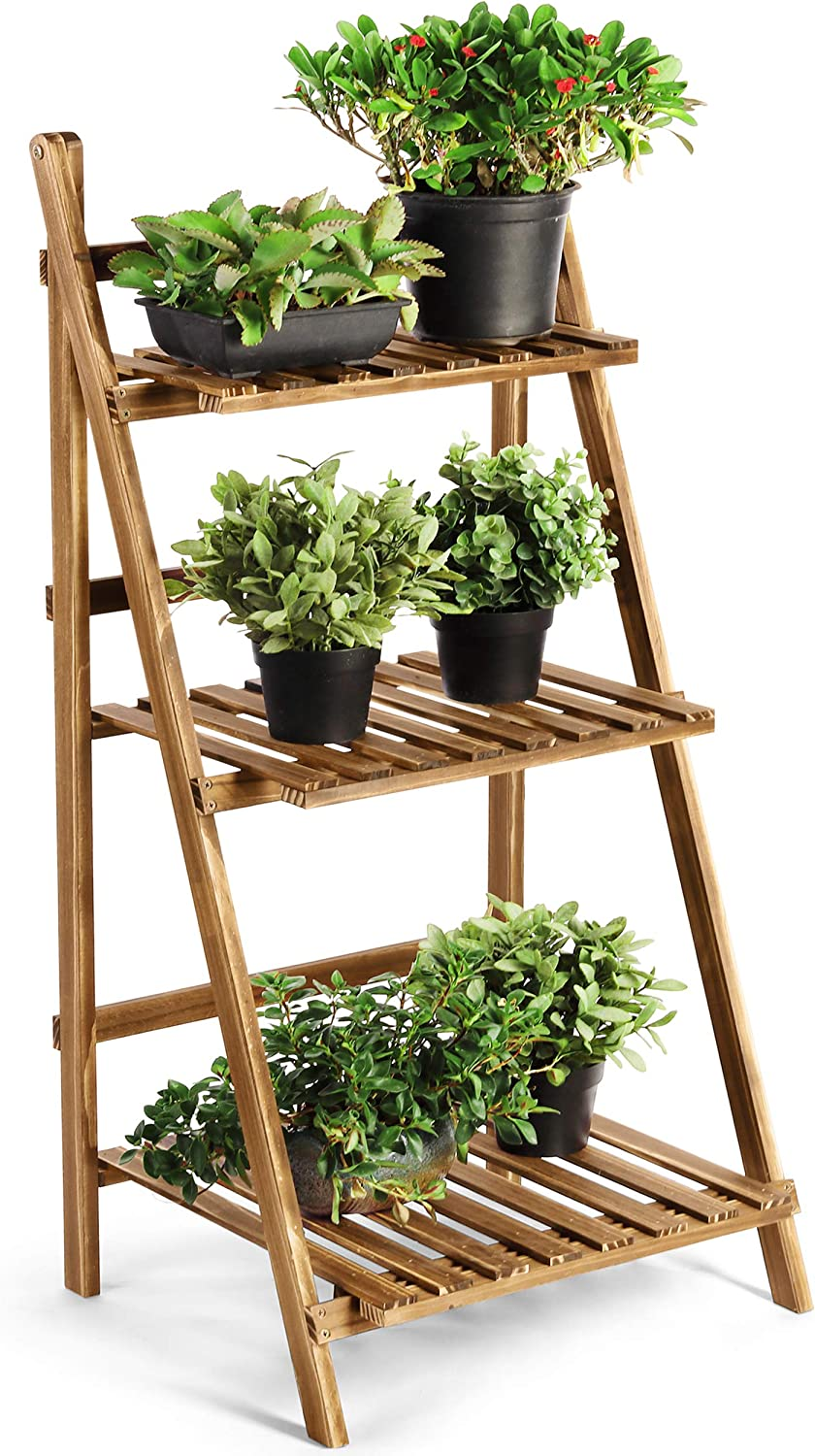 HYNAWIN Wood Plant Stand, 3 Tiers Plant Rack, Ladder Flower Stand Plant Display Shelf, Pot Display Storage Rack for Indoor Outdoor Home Patio Lawn Garden Balcony Organizer Planter
