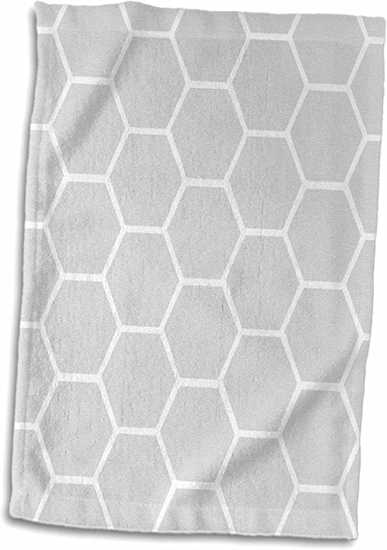 3D Rose Gray Honeycomb Pattern Contemporary Grey Honey Comb Modern Bee Hive Geometric Hexagons Hand Sports Towel 15 X 22 Multicolor