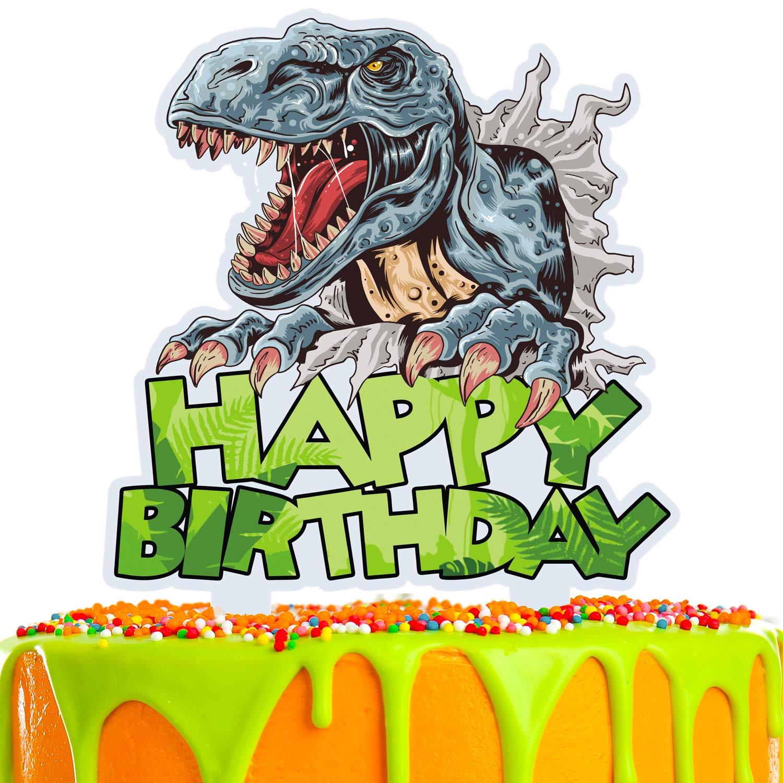Dinosaur Cake Topper Happy Birthday Dino Jungle Theme A 2021 autumn and winter new Sacramento Mall Jurassic