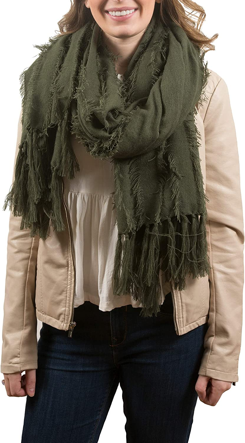 Pavilion Gift Company Army Green-Oversized Frayed Scarf, One Size