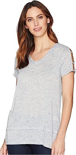 Soft & Light Heather Jersey Cut Out Cold Shoulder Sleeve V-Neck Tee