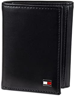 Tommy Hilfiger Trifold for Men- Big Skinny Wallet with 100% Genuine Leather Credit Card Pockets and ID