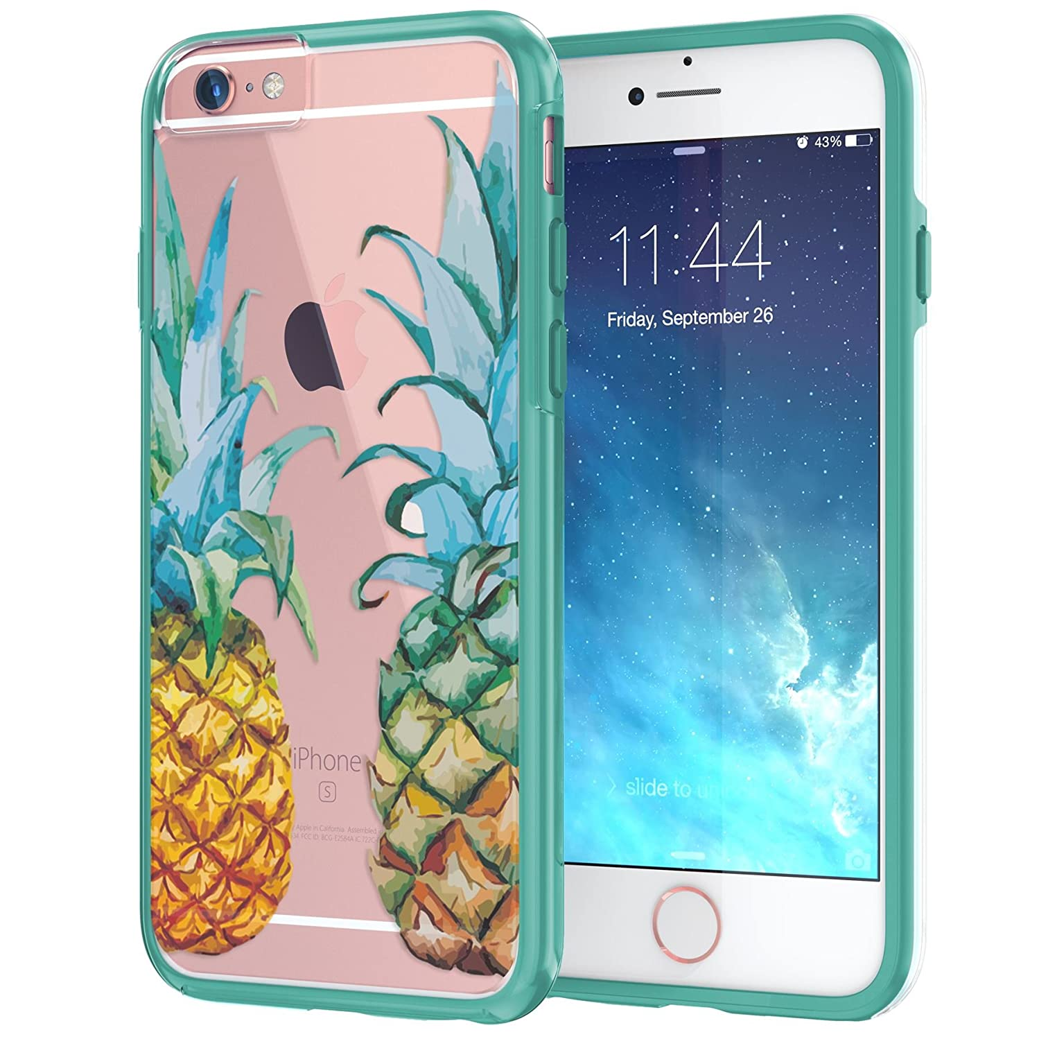 True Color Case Compatible with iPhone 6s Plus Case, Tropical Watercolor Pineapples Printed on Clear Transparent Hybrid Cover Hard +Soft Slim Durable Protective Shockproof TPU Bumper Cover Teal ajfjajzokfvjvq