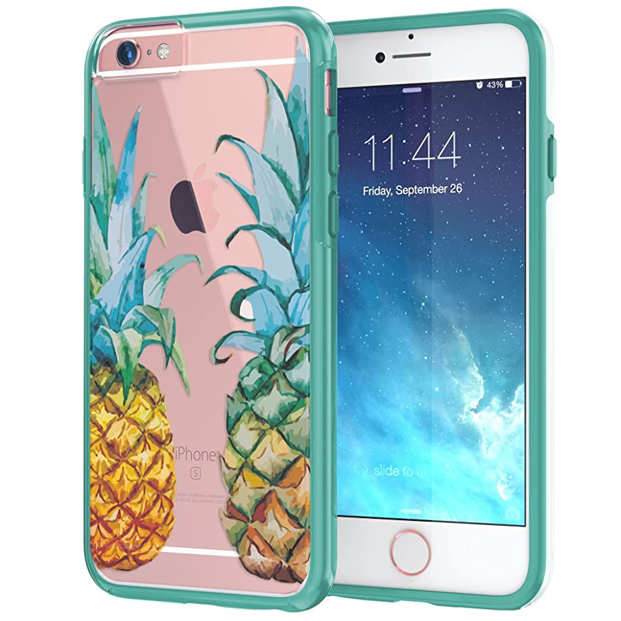 True Color Case Compatible with iPhone 6/6s Case, Translucent Tropical Watercolor Pineapples Printed on Clear Hybrid Cover Hard + Soft Slim Thin Durable Protective Shockproof TPU Bumper Cover - Teal