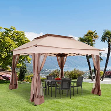 Outsunny 11' x 11' Pop Up Gazebo Canopy with 2-Tier Soft Top, Removable Zipper Netting, Event Tent with Large Space S