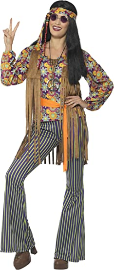 Smiffys-44681S Disfraz de Cantante Hippie años 60, para Mujer, con Camiseta, chalec, Multicolor, S-EU Tamaño 36-38 (SmiffyS 44681S)
