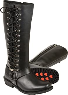 Milwaukee Leather Women's Tall Boots with Side Lacing (Black, Size 5)