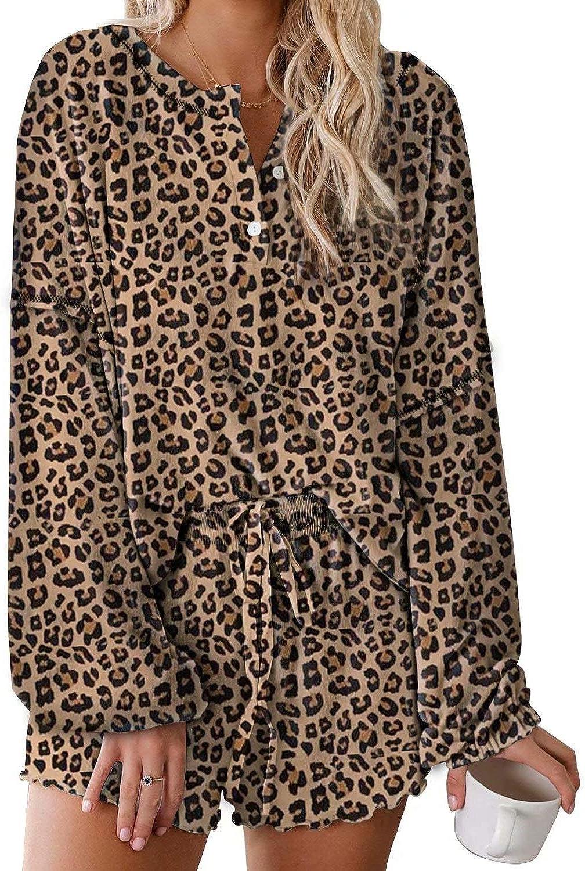 SESSRYMNIR Womens Tie Dye Printed Ruffle Short Lounge Set Long Sleeve Tops and Shorts 2 Piece Pajamas Set Sleepwear