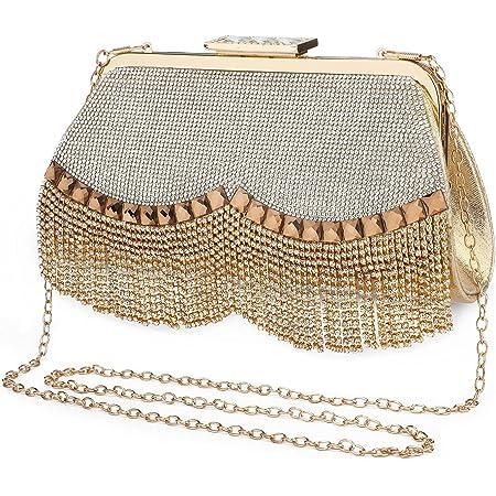 UBORSE Damen Abendtasche Gold Clutch Bag Strass Handtasche Ketten Taschen Kleine Umhängetasche Glänzend Henkeltasche Silber für Hochzeit Party Disko