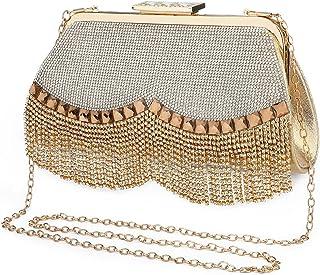 UBORSE Damen Abendtasche Gold Clutch Bag Strass Handtasche Ketten Taschen Kleine Umhängetasche Glänzend Henkeltasche Silbe...