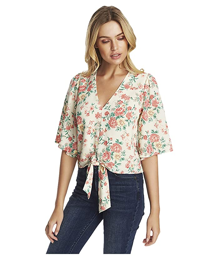 1.STATE  Ikat Bouquet Flounce Sleeve Tie Front V-Neck Blouse (Soft Ecru Multi) Womens Clothing