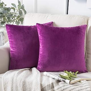 "Phantoscope Pack of 2 Decorative Soft Velvet Series Violet Throw Pillow Case Cushion Cover 22"" x 22"" 55 x 55 cm"